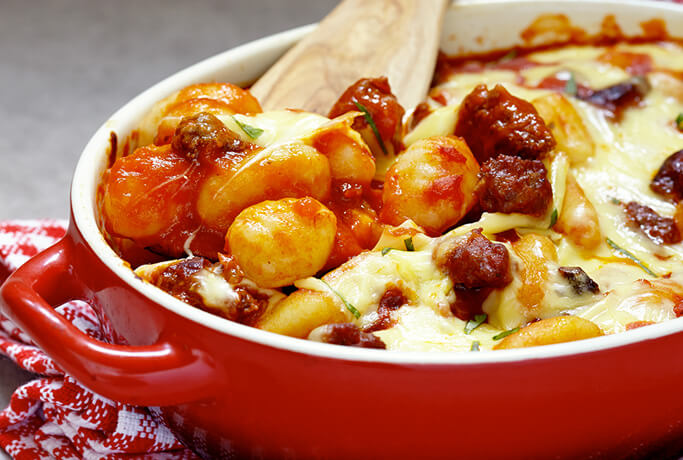Potato gnocchi with sausages