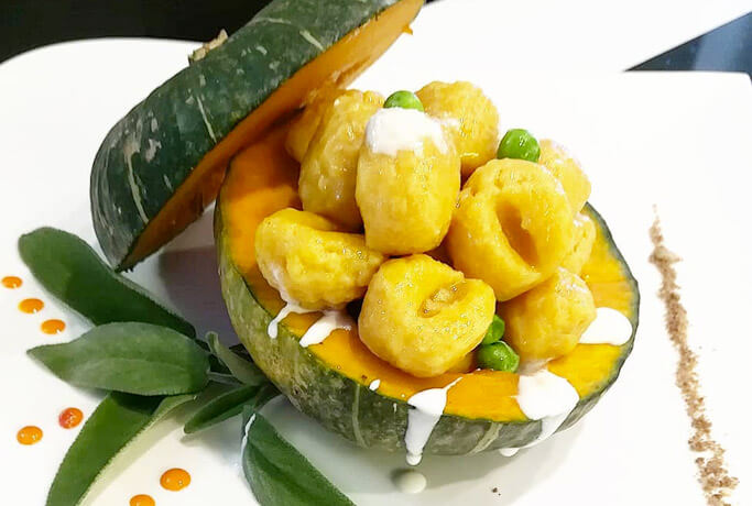 Pumpkin gnocchi with pecorino cheese fondue